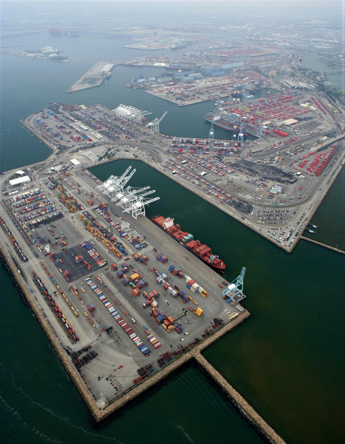 Aerial view of the Port of Long Beach, California, container port