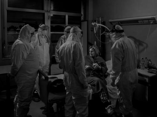 Magnum photographer Alex Majoli took this scene when the doctors announce to a patient her healing from Covid-19 on 29 April 2020, in Ragusa, Sicily
